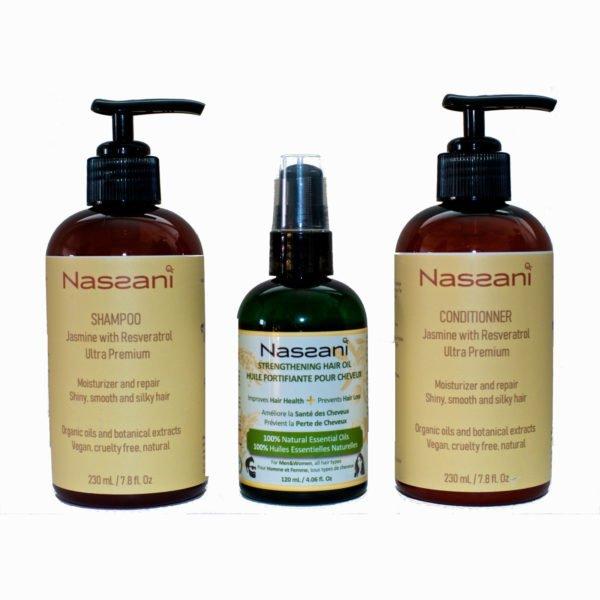 Shampoing et conditionneur naturel au resveratrol + Huile cheveux naturelle